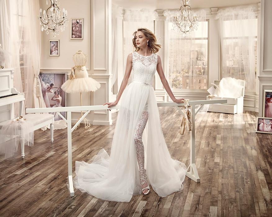 Pantalone in pizzo aderente Nicole Spose per un abito da sposa alternativo e sensuale